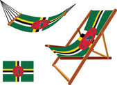 Dominica hammock and deck chair set — Stock Vector