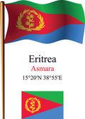 Eritrea wavy flag and coordinates — Stock Vector