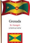 Grenada wavy flag and coordinates — Stock Vector