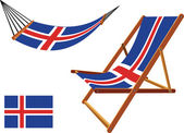 Iceland hammock and deck chair set — Stock Vector