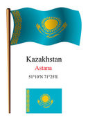 Kazakhstan wavy flag and coordinates — Stock Vector