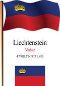 Liechtenstein wavy flag and coordinates — Stock Vector