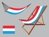 Luxembourg hammock and deck chair set — Stock Vector