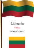 Lithuania wavy flag and coordinates — Stock Vector