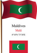 Maldives wavy flag and coordinates — Stock Vector