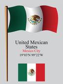 Mexico wavy flag and coordinates — Stock Vector
