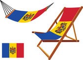 Moldova hammock and deck chair set — Stock Vector