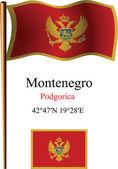 Montenegro wavy flag and coordinates — Stock Vector