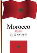 Morocco wavy flag and coordinates — Stock Vector