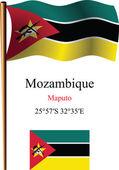 Mozambique wavy flag and coordinates — Stock Vector