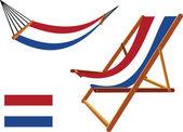 Netherlands hammock and deck chair set — Stock Vector