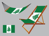Norfolk island hammock and deck chair set — Stock Vector