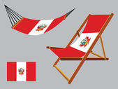 Peru hammock and deck chair set — Stock Vector