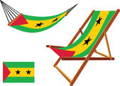 Sao tome and principe hammock and deck chair set — Stock Vector