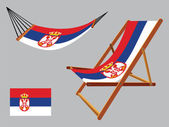 Serbia hammock and deck chair set — Stock Vector