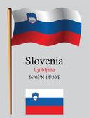 Slovenia wavy flag and coordinates — Stock Vector