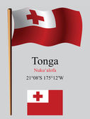 Tonga wavy flag and coordinates — Stock Vector
