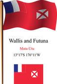 Wallis and futuna wavy flag and coordinates — Stock Vector