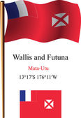 Wallis and futuna wavy flag and coordinates — Stock Vector