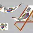 Stock Vector: Saint barthelemy hammock and deck chair set