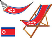 North korea hammock and deck chair set — Stock Vector