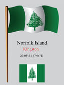 Norfolk island wavy flag and coordinates — Stock Vector