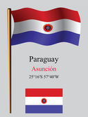 Paraguay wavy flag and coordinates — Stock Vector