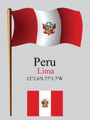Peru wavy flag and coordinates — Stock Vector