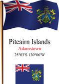 Pitcairn islands wavy flag and coordinates — Stock Vector