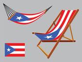 Puerto rico hammock and deck chair set — Stock Vector