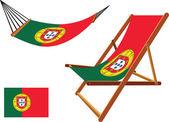 ポルトガルのハンモック、デッキチェアーのセット — ストックベクタ