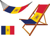 Romania hammock and deck chair set — Stock Vector
