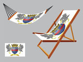 Saint barthelemy hammock and deck chair set — Stock Vector