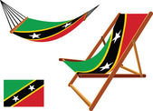 Saint kitts and nevis hammock and deck chair set — Stock Vector