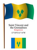 Saint vincent and the grenadines wavy flag and coordinates — Stock Vector