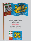 Saint pierre and miquelon wavy flag and coordinates — Stock Vector