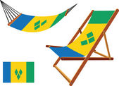 Saint vincent and the grenadines hammock and deck chair set — Stock Vector