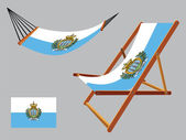 San marino hammock and deck chair set — Stock Vector