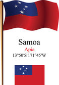 Samoa wavy flag and coordinates — Stock Vector