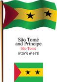 Sao tome and principe wavy flag and coordinates — Stock Vector