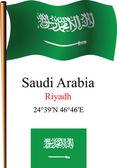 Saudi arabia wavy flag and coordinates — Stock Vector
