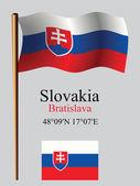 Slovakia wavy flag and coordinates — Stock Vector