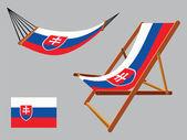 Slovakia hammock and deck chair set — Stock Vector