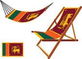 Sri lanka hammock and deck chair set — Stock Vector