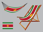 Suriname hammock and deck chair set — Stock Vector