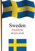 Sweden wavy flag and coordinates — Stock Vector
