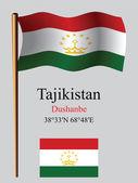 Tajikistan wavy flag and coordinates — Stock Vector