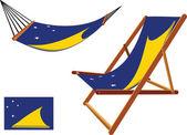 Tokelau hammock and deck chair — Stock Vector