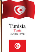 Tunisia wavy flag and coordinates — Stock Vector