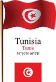 Tunisia wavy flag and coordinates — Stock Vector